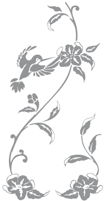 Glass Etching Stencil Of Hummingbird Flower And Vine In Category Birds Flowers