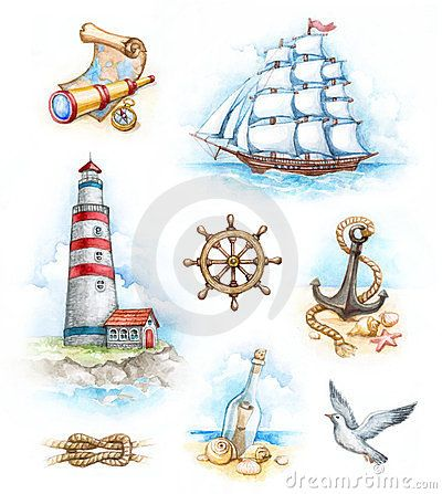 Nautical Watercolor Illustrations - Download From Over 23 Million High Quality Stock Photos, Images, Vectors. Sign up for FREE today. Image: 24218271