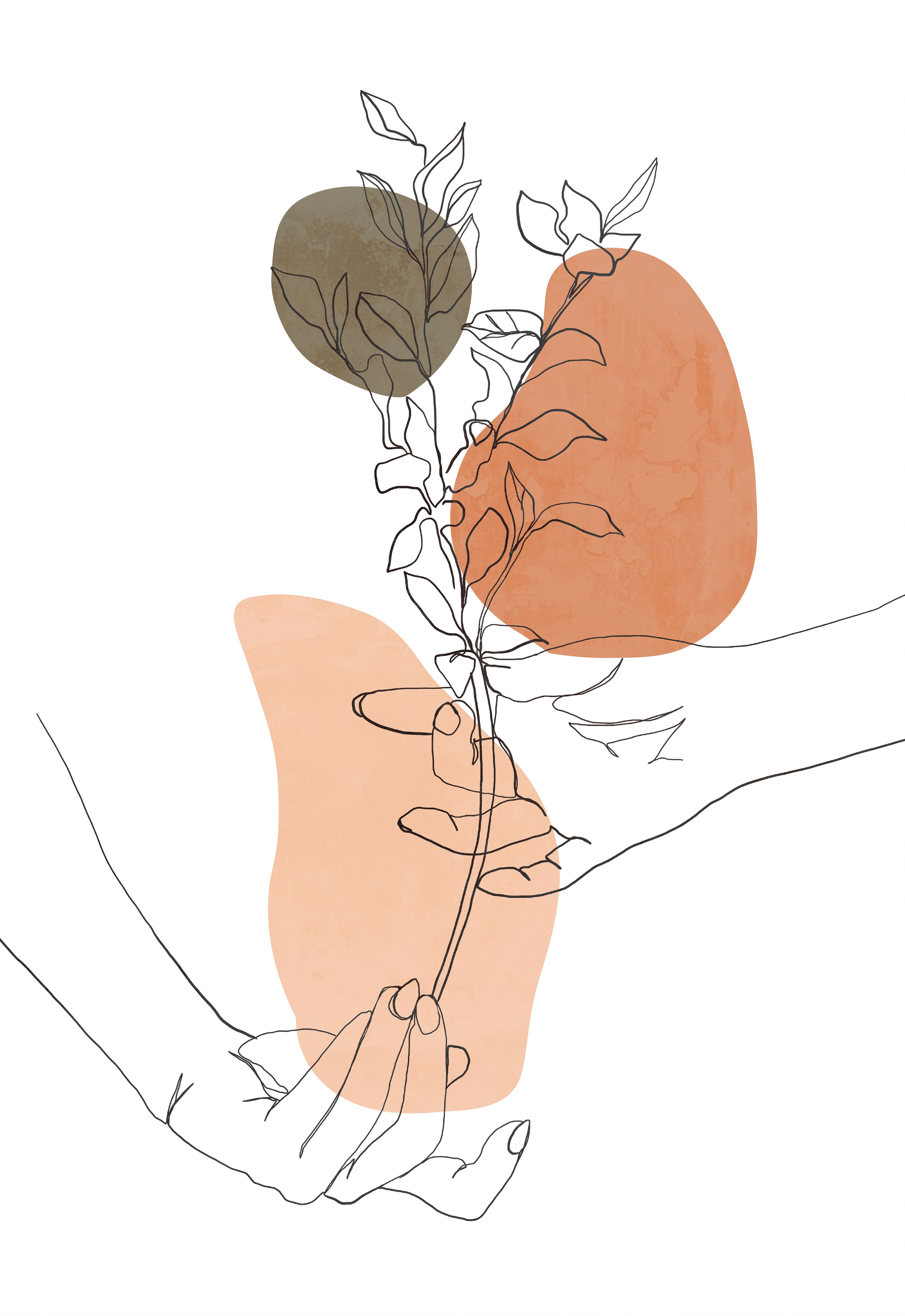 Minimalist line art hands, plant poster