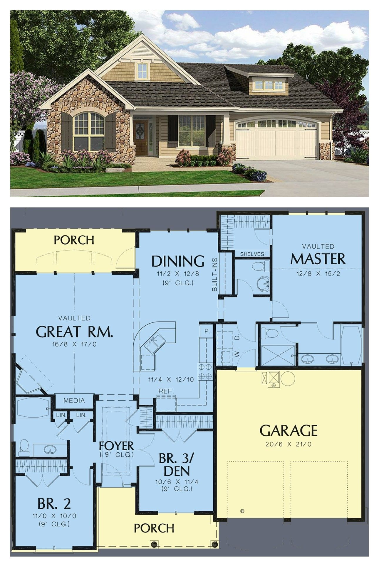 Traditional Style House Plan 81202 With 3 Bed 3 Bath 2 Car Garage House Plans Cottage Style Homes Cottage Style House Plans