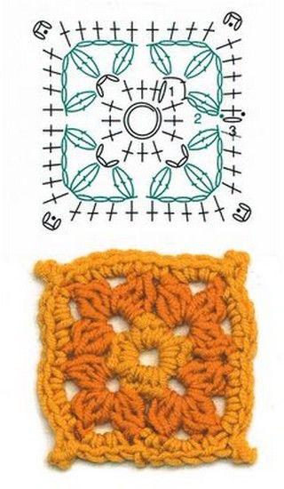grannys squares (23)   Crochet   Pinterest   Cuadrados, Ganchillo y ...