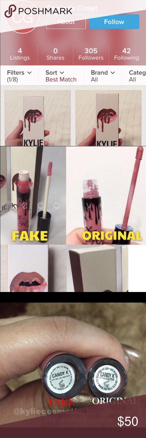 Beware Fake Kylie I bought a kit from her on Merch it's fake. Sticker the bottom of lipstick is crooked. The lipstick stick is white and not clear. Just wish the item description would have said Kylie isn't authentic. Kylie Cosmetics Makeup