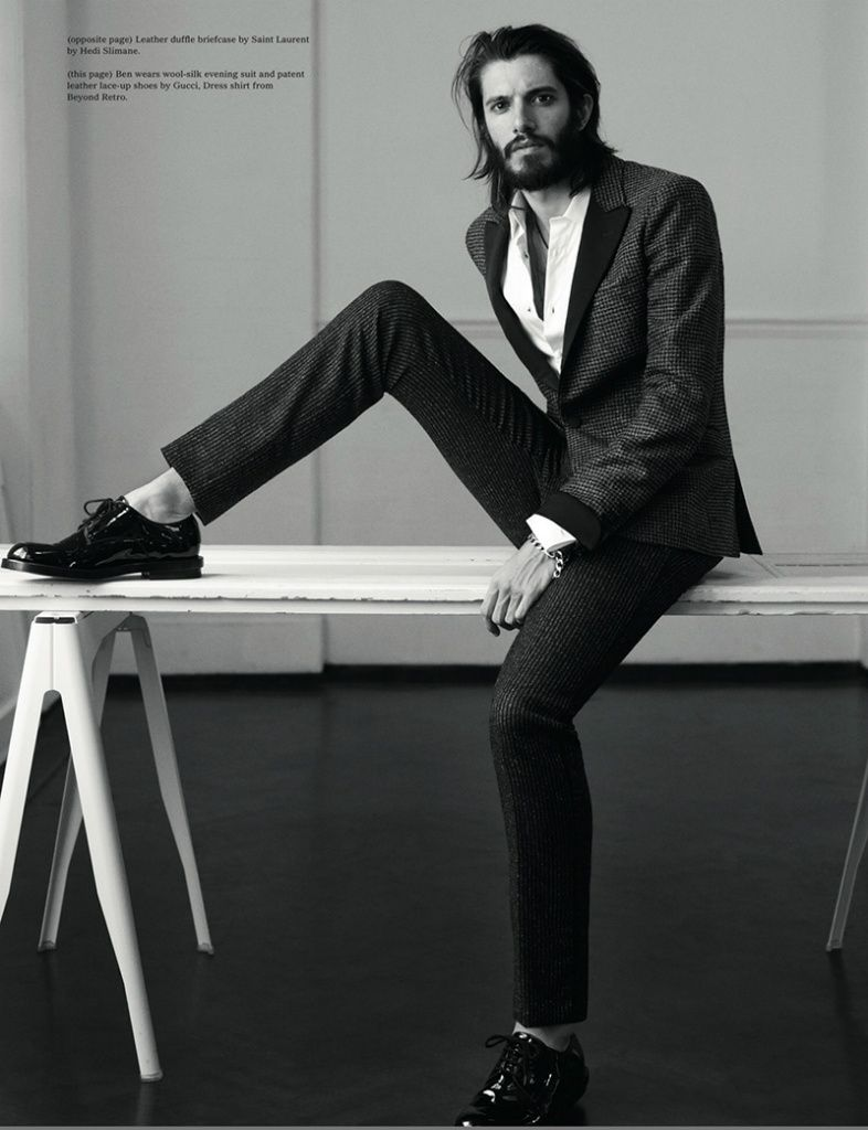 Wool-silk evening suit and patent leather lace-up shoes by Gucci, dress shirt from Beyond Retro. Photography by Tom Allen.