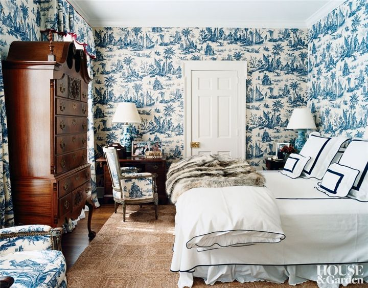 Dress Your Walls Why Paper Is Better Than Paint The Entertaining House Wallpaper Design For Bedroom Beautiful Bedrooms Blue Bedroom