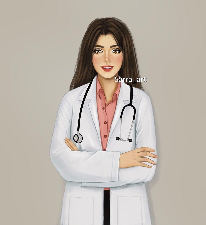10k Likes 630 Comments S A R R A A R T Sarra Art On Instagram منشن للدكتورة وقولو Beautiful Girl Drawing Cute Cartoon Girl Girl Doctor