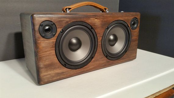 Stained Wood Portable Bluetooth Speaker Retro Radio