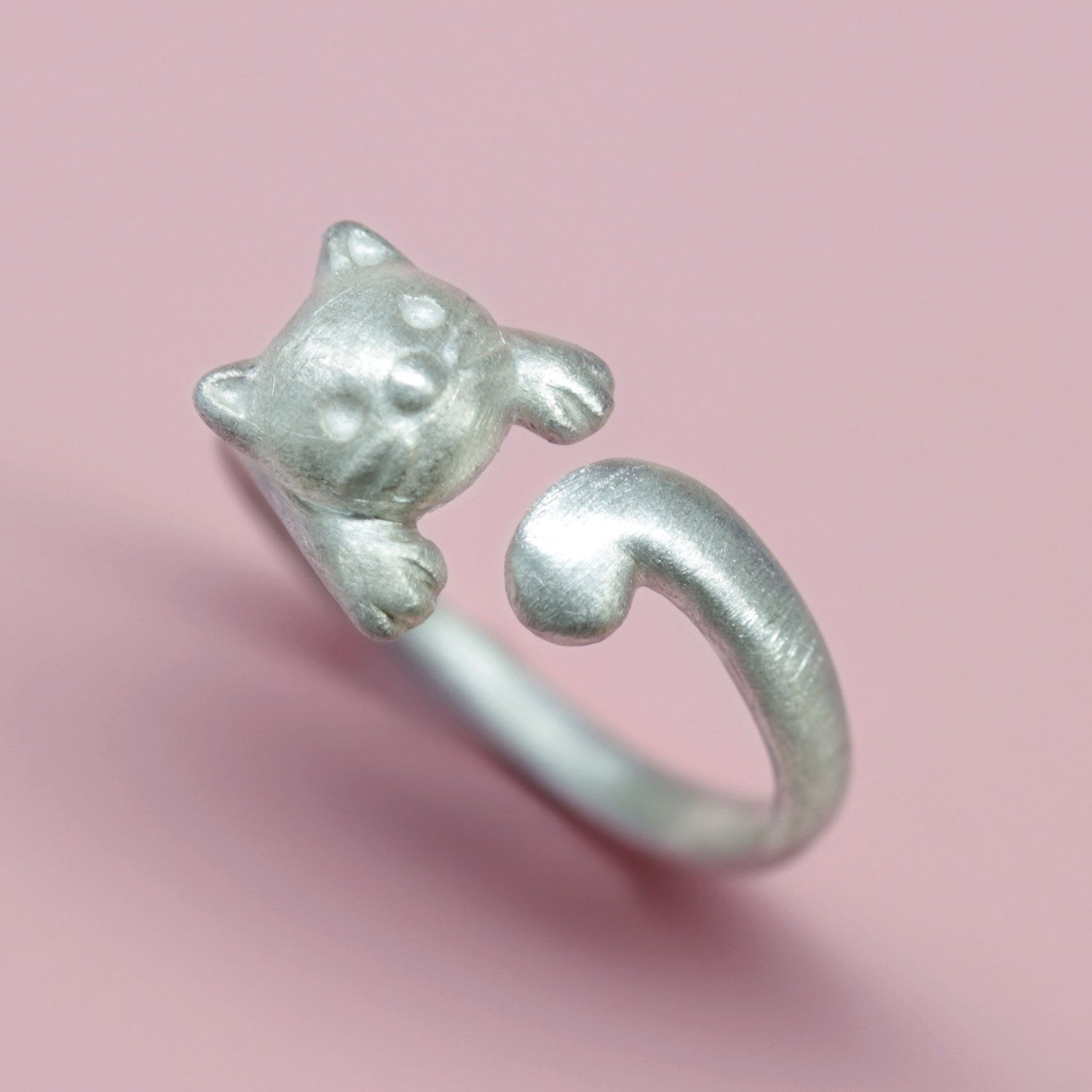 Handmade cat animal jewelry Adjustable cat ring with cat/'s head and tail. Sterling ring