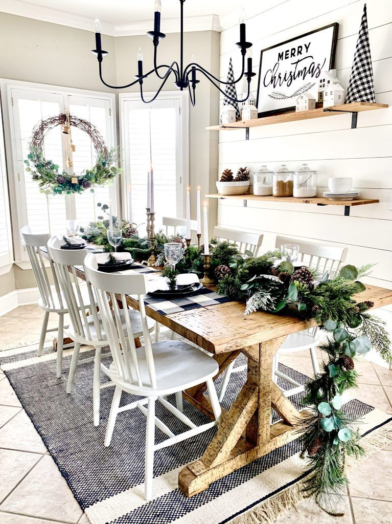 Neutral Christmas Table Setting and DIY Garland | Bless This Nest