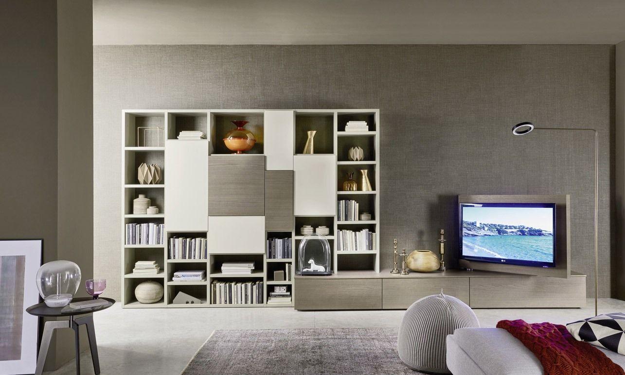 soggiorni a parete, libreria, porta tv rovere cenere e bianco | C ...
