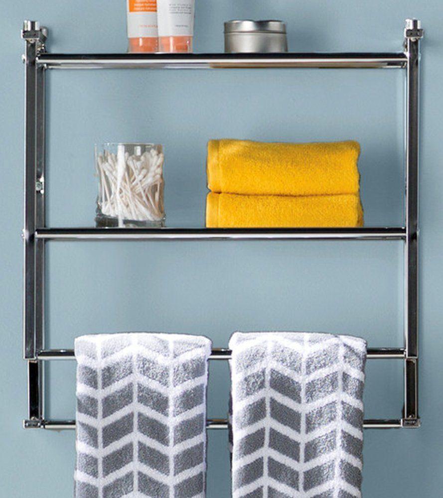 Amazon.com: Wall Mounted Towel Rack & Metal Toilet Organizer ...
