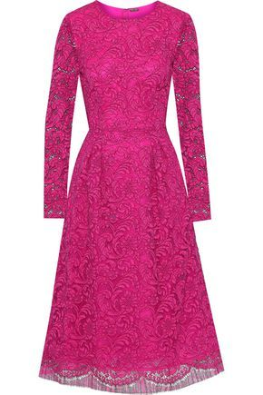 Adam Lippes Woman Pleated Cotton-blend Corded Lace Midi Dress Fuchsia Size 2 Adam Lippes Cheap Sale Best Sale For Nice Under 70 Dollars Limited Edition Best Buy URepomIq7P