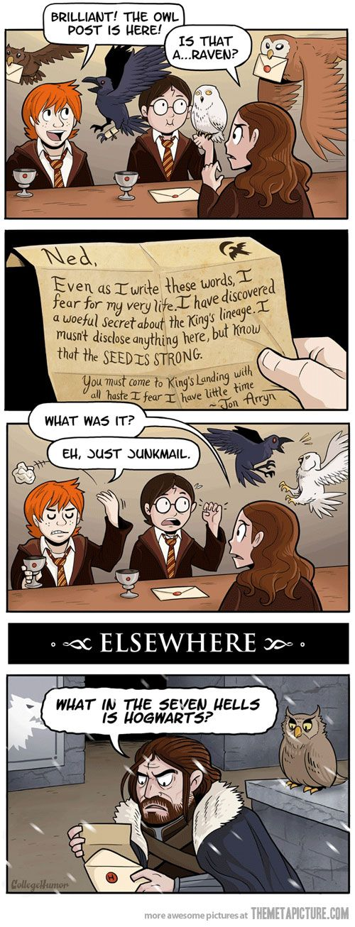 Junk mail- Harry Potter and Game of Thrones cross over
