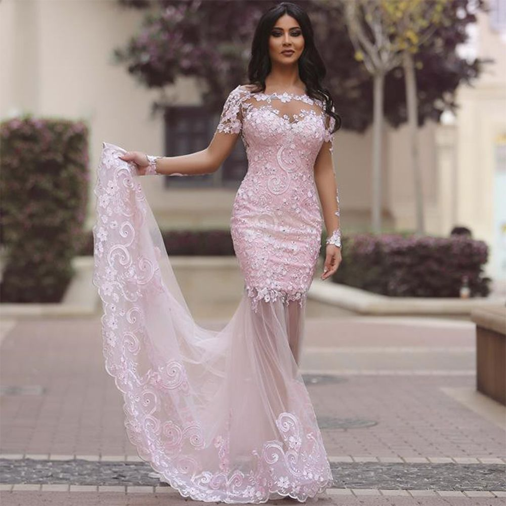Click to buy ucuc sexy see through pink evening dress long sleeve