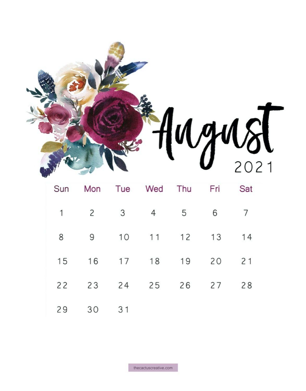 August 2021 Calendar Wallpaper 2021 Printable Calendar Floral, Watercolor Calendar, Letter Size