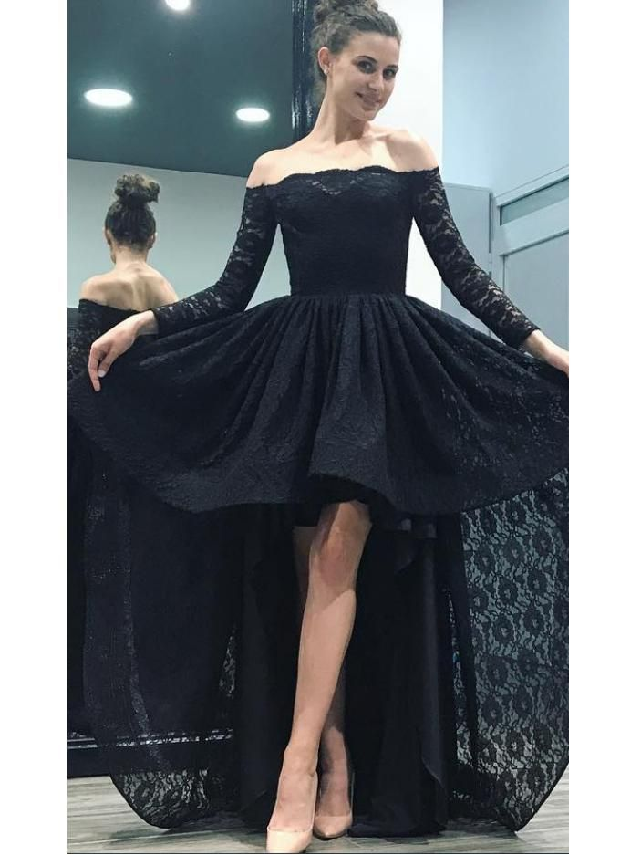 Sexy High-low Prom Dresses Off-the-shoulder Asymmetrical Long Prom ...