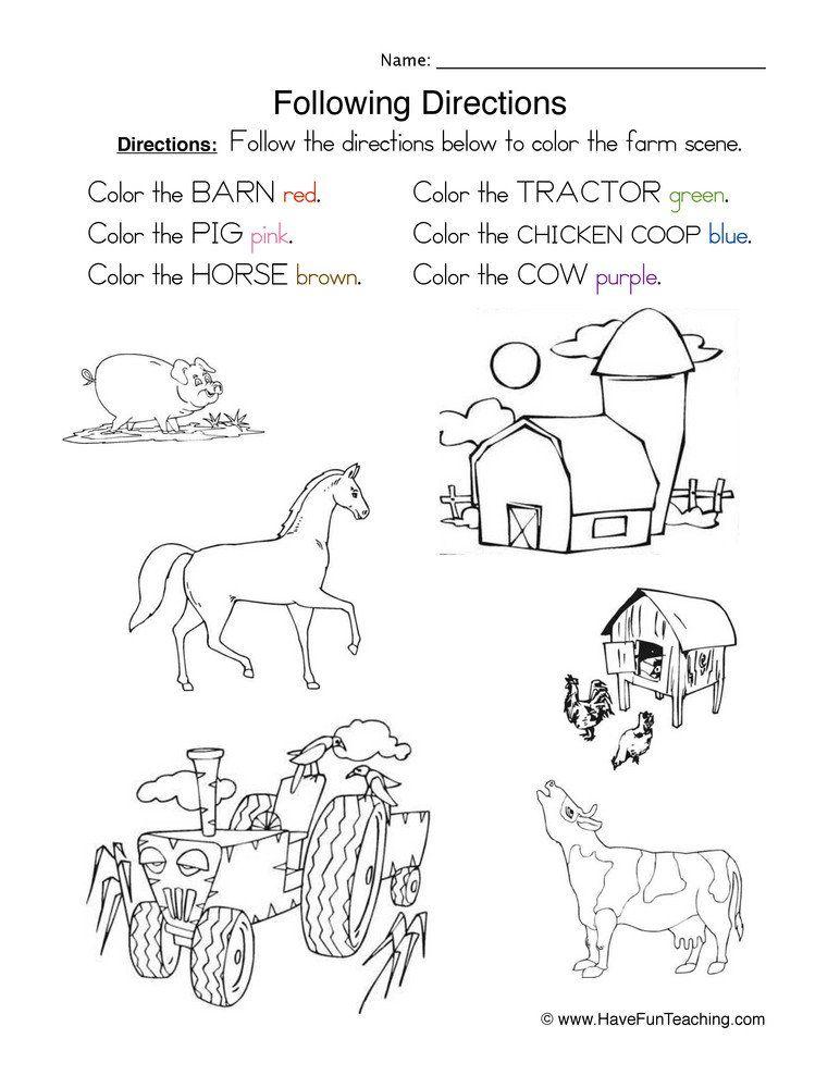 Follow Directions Worksheet Kindergarten Following