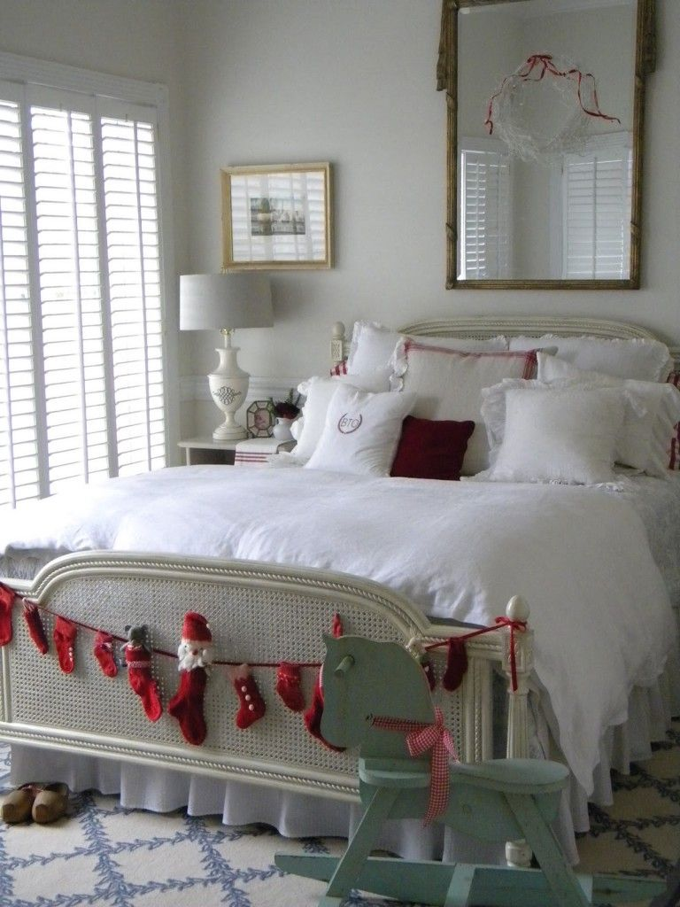 interior, captivating white christmas bedroom design with red