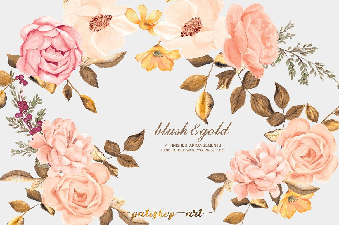 Watercolor Blush Gold Roses Clip Art Clip Art Blush And Gold Rose Clipart
