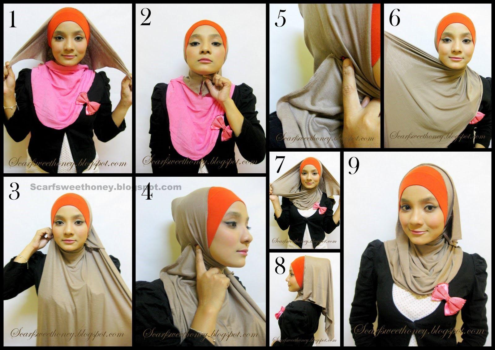 8 Simple Tutorial Hijab Paris Bahan Satin Untuk Pengajian