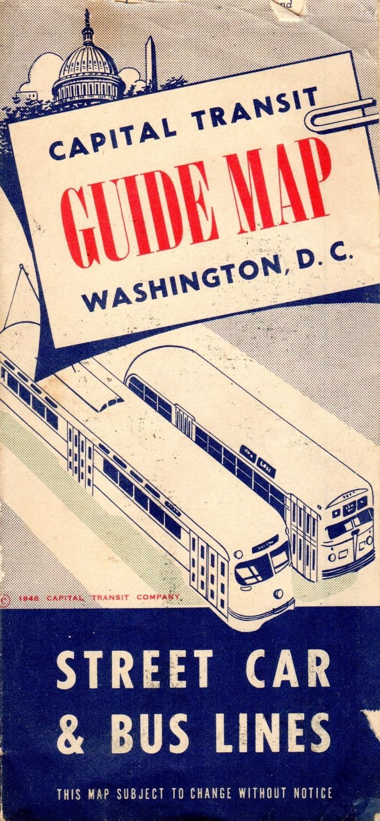 1948 Washington DC Map Guide Streetcar Bus Coach Trolley Tram ... on