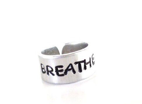 Breathe Hand Stamped Ring Yoga Jewelry Aluminum Adjustable Unique Gift For Her Christmas Birthday Under 20