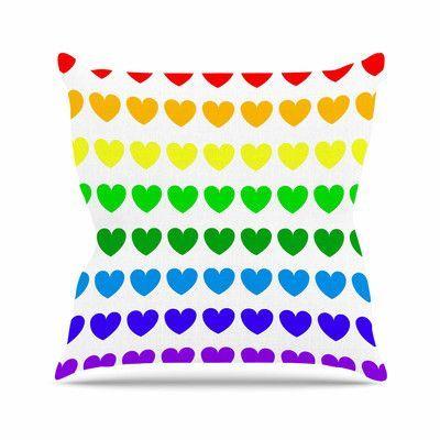 KESS InHouse Hearts Throw Pillow Size: 16'' H x 16'' W, Color: Rainbow