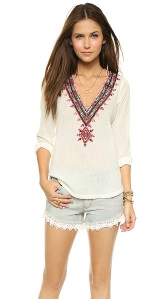 Twelfth St. by Cynthia Vincent V Neck Embroidered Top