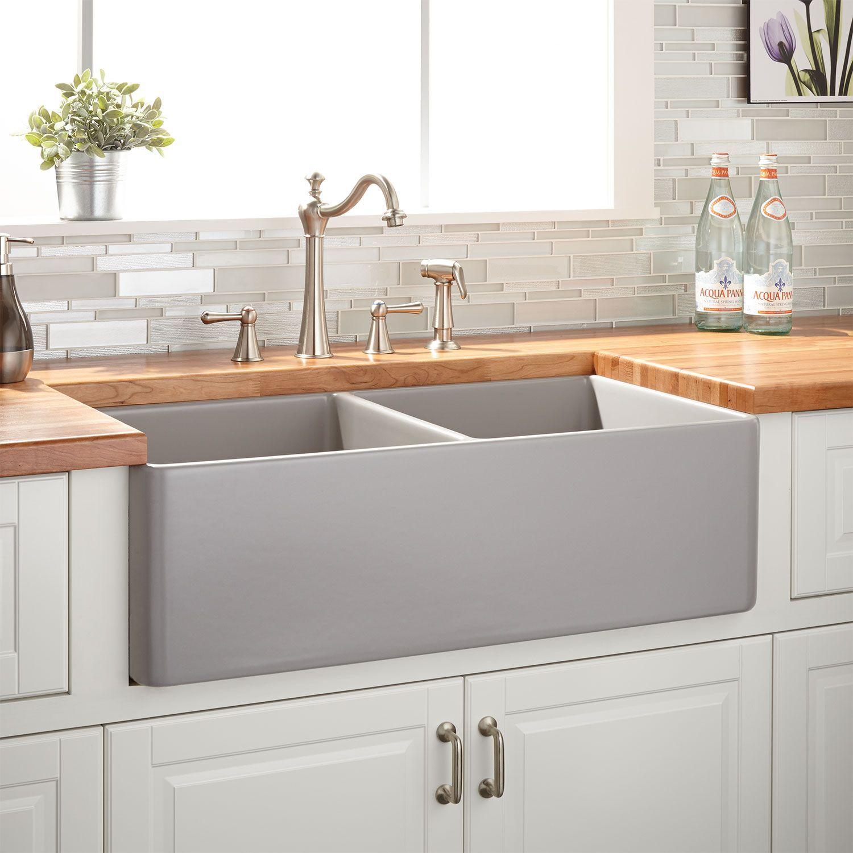 33 Reinhard Double Bowl Vuurvaste Klei Boerderij Sink In Grijs Signature Hardware In 2020 Fireclay Farmhouse Sink Kitchen Cabinet Design Grey Kitchen Cabinets