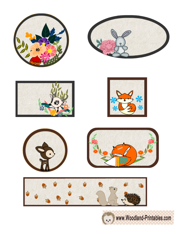 image regarding Free Printable Woodland Animal Templates named Lovely Woodland Pets Labels Printables Animal templates