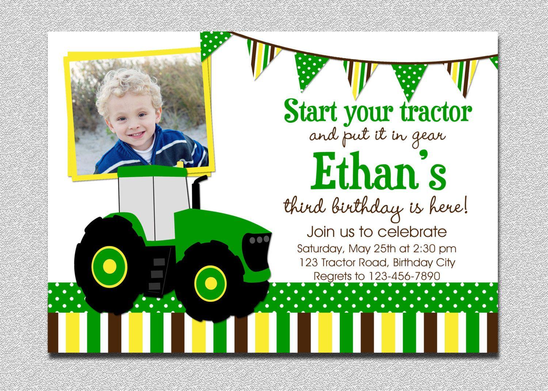 Tractor Birthday Invitation, Tractor Birthday Party Invitation, Boys ...