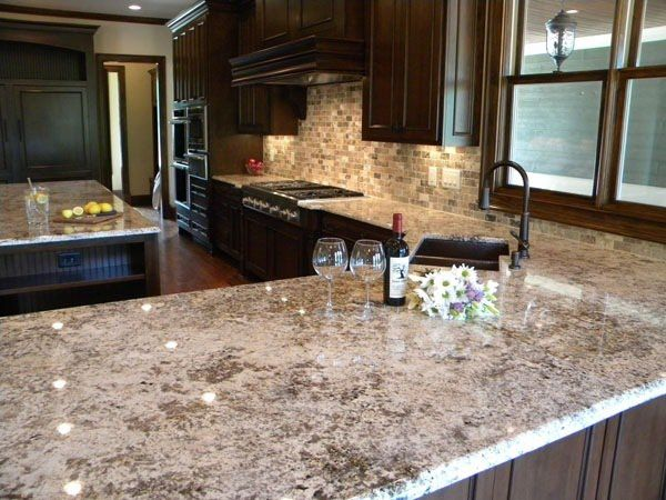 Marvelous Bianco Antico Granite Countertops Dark Wood Kitchen Cabinets Luxury Kitchen  Design Ideas