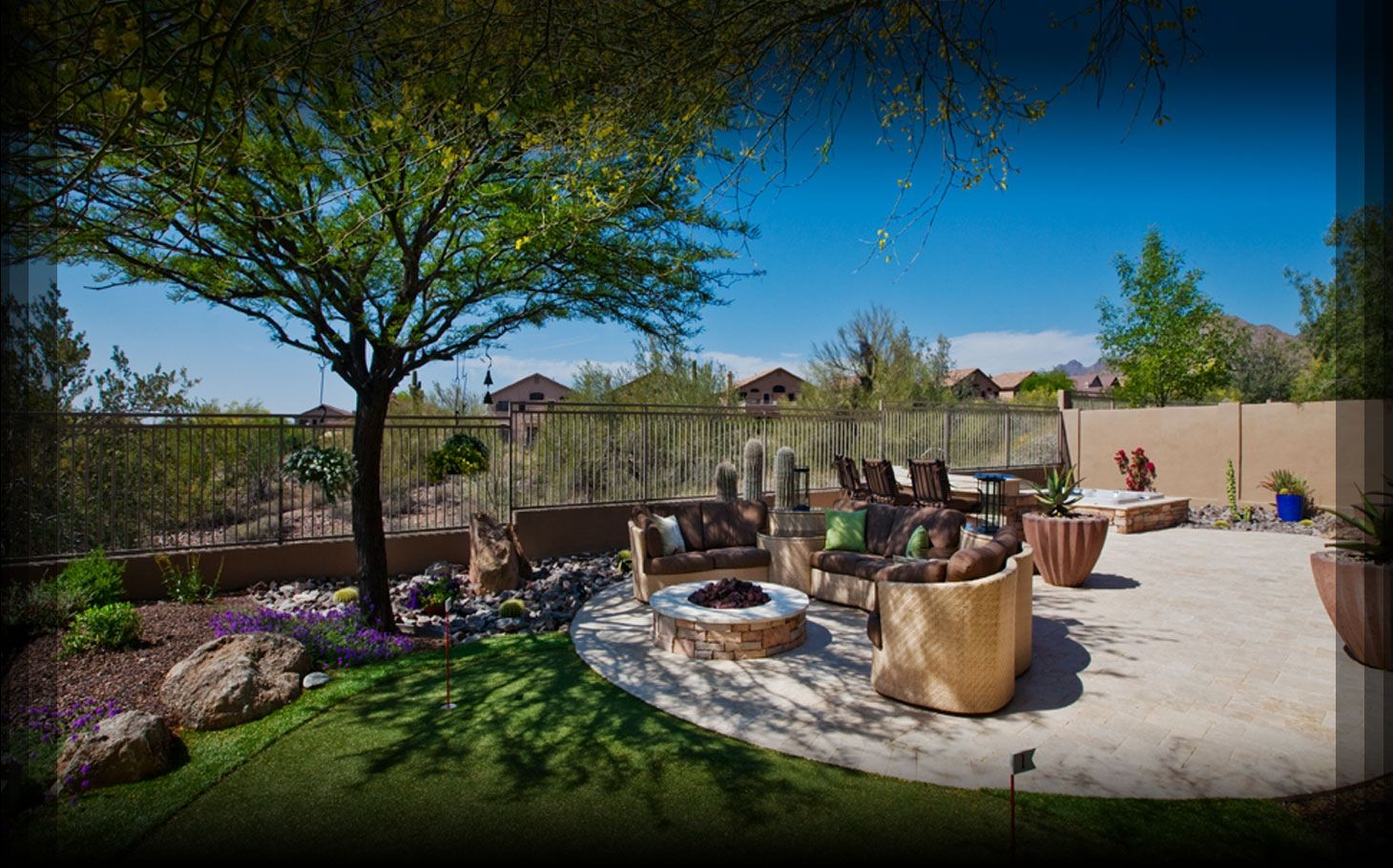 Shade trees near patio share outdoor spaces for Backyard pool landscaping ideas