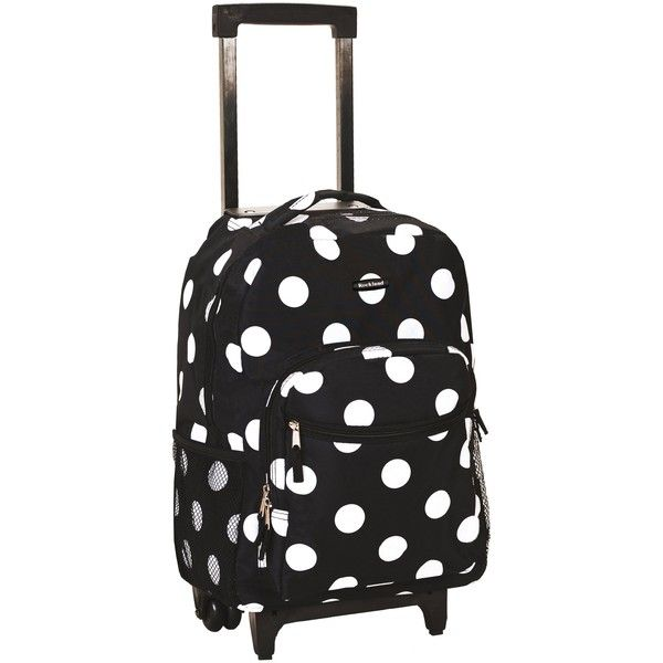 Rockland Designer Print 17-inch Rolling Carry-on Backpack ($49) ❤ liked on Polyvore featuring bags, black, long bags, rockland luggage, locking backpack, lock bag and backpack bags
