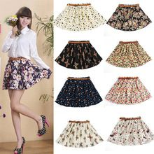 9 Color S-2XL 2015 Summer Best Selling Fashion New Women Ladies Retro High Waist Pleated Floral Chiffon Sheer Short Mini Skirt(China (Mainland))