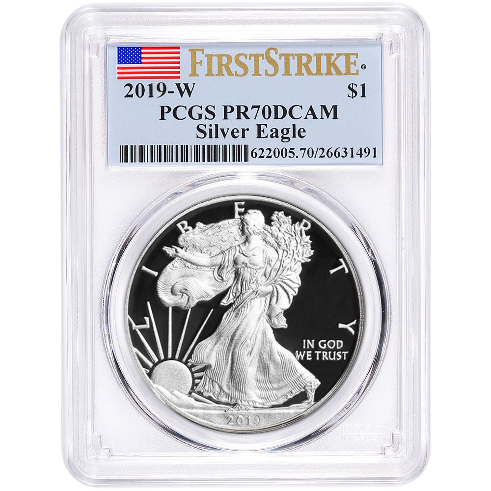 Details About 2019 W Proof 1 American Silver Eagle Pcgs Pr70dcam First Strike Flag Label Silver Eagle Coins Silver Eagles American Silver Eagle