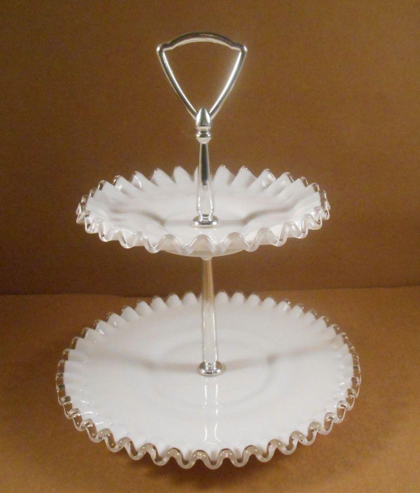 Fenton White Silvercrest Milk Glass 2 Tier Tidbit Dessert Serving Tray