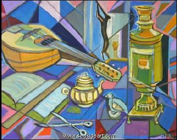'tea and music' acrylic painting by irving amen