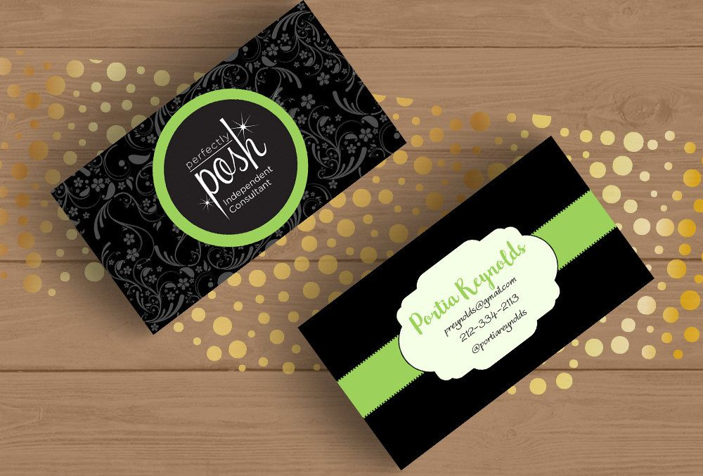 Perfectly Posh Business Card Template Layered PSD No.9 Mint and ...