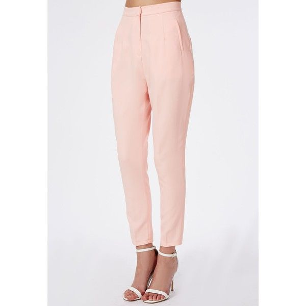 Missguided Premium High Waisted Cigarette Suit Trousers Soft Pink ($56) ❤ liked on Polyvore