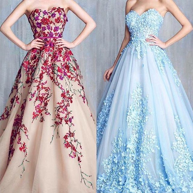 Which one do you like best? gowns by @tonychaayaofficial 💙🌺