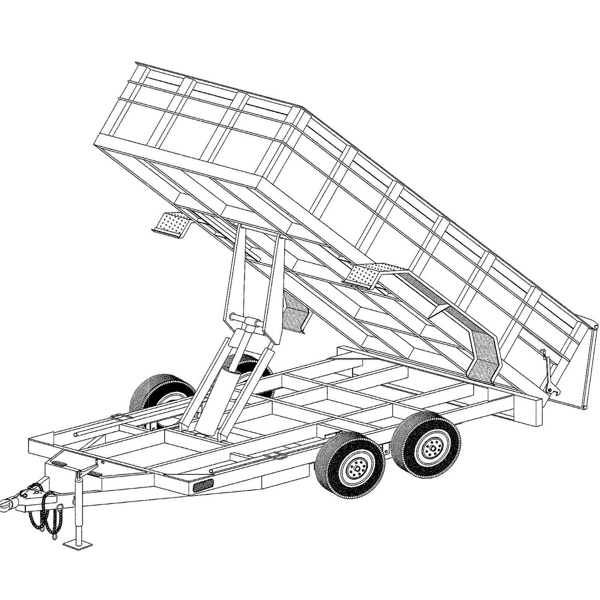 6\'4″ x 14′ hydraulic dump trailer plans model 14hd