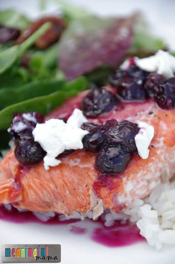 Photo of Salmon with Goat Cheese and Blueberry Sauce