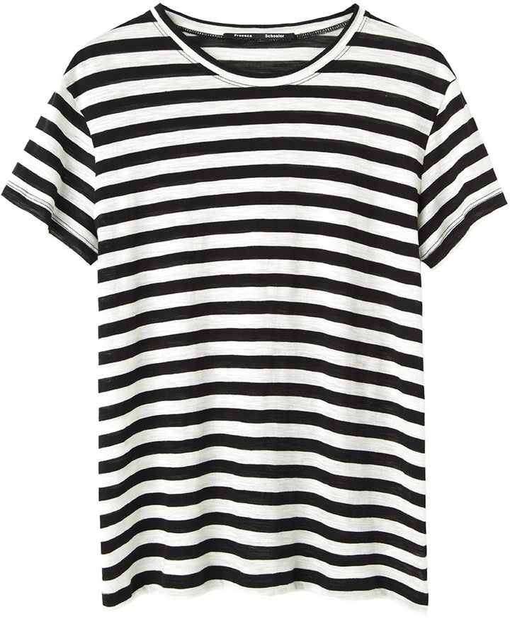 749a74957c Black and White Horizontal Striped Crew-neck T-shirt by Proenza Schouler.  Buy for $245 from La Garçonne