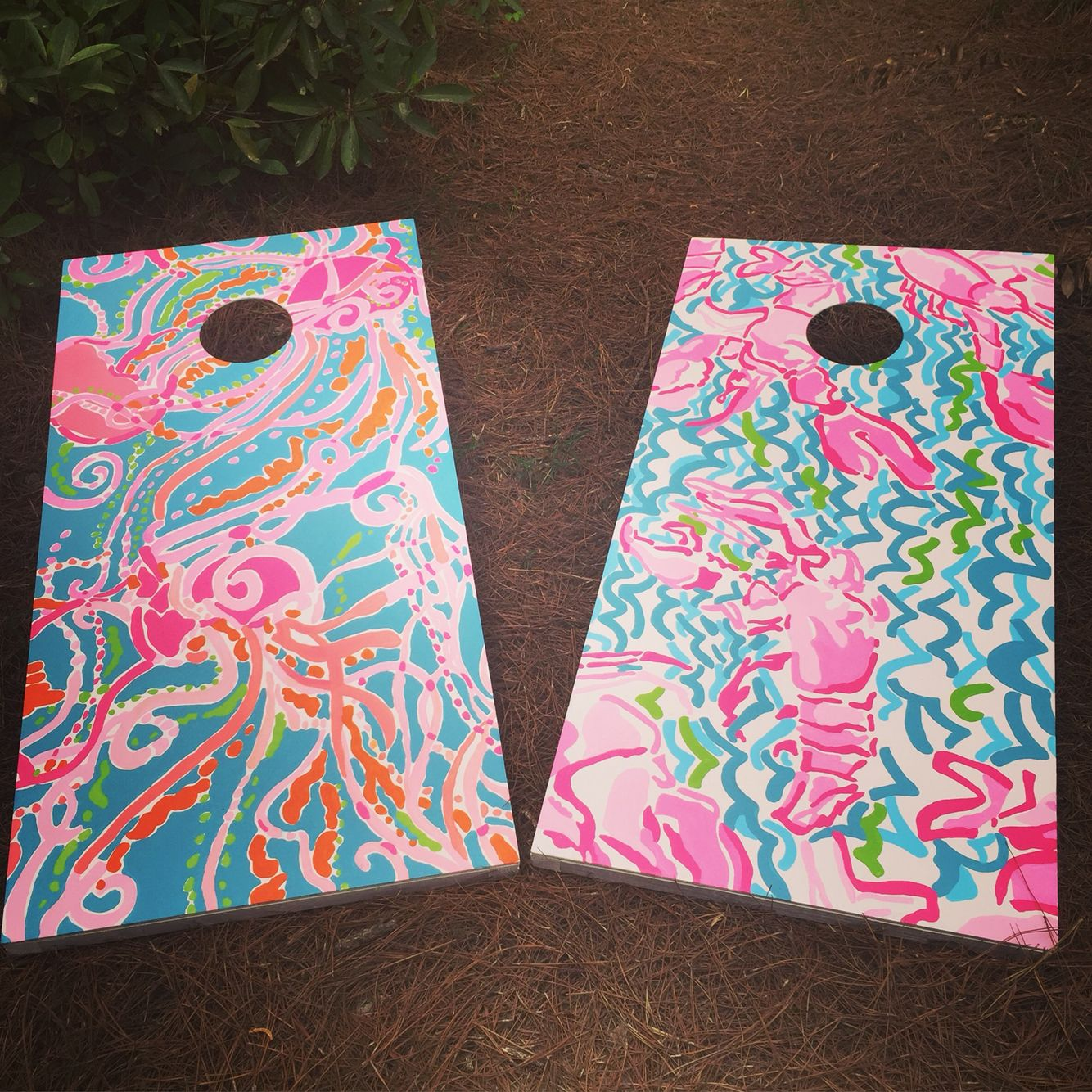 Awesome Lilly Pulitzer Print Cornhole Boards I Hand Painted For My Uwap Interior Chair Design Uwaporg