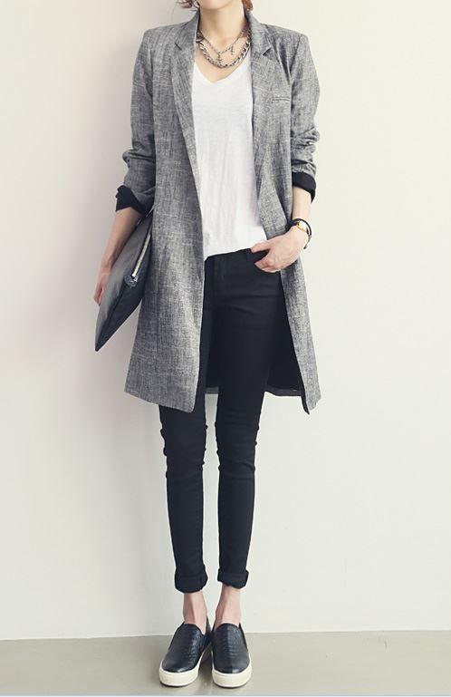 Wisqueen's spring linen cotton coat gray long coat suit collar coat loose fit coat chic coat city ladies coat-wt19