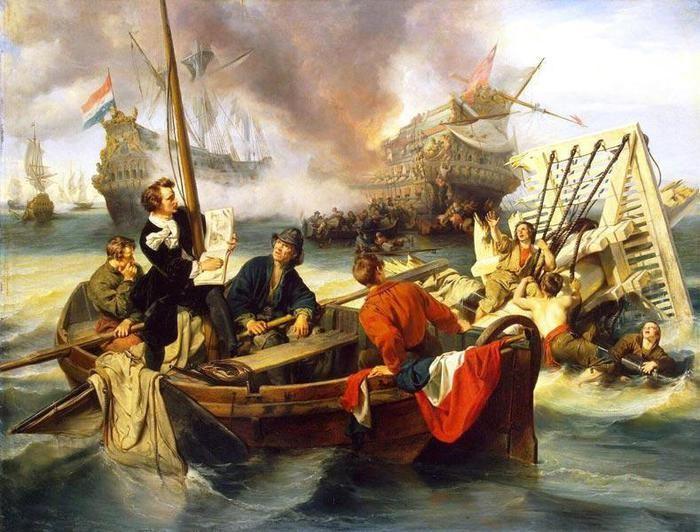 J. Dehoij-Willem Van de Velde. Sketch of battle during the four days battle, June 14, 1666 year. The Hermitage, St. Petersburg