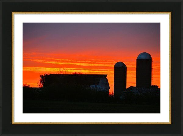Dual Silo Sunrise Framed Print By Bonfire #Photography