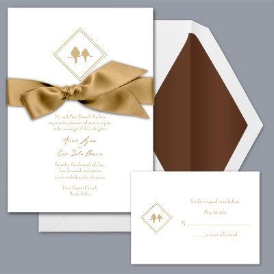 Diamond Birds - Golden - Invitation