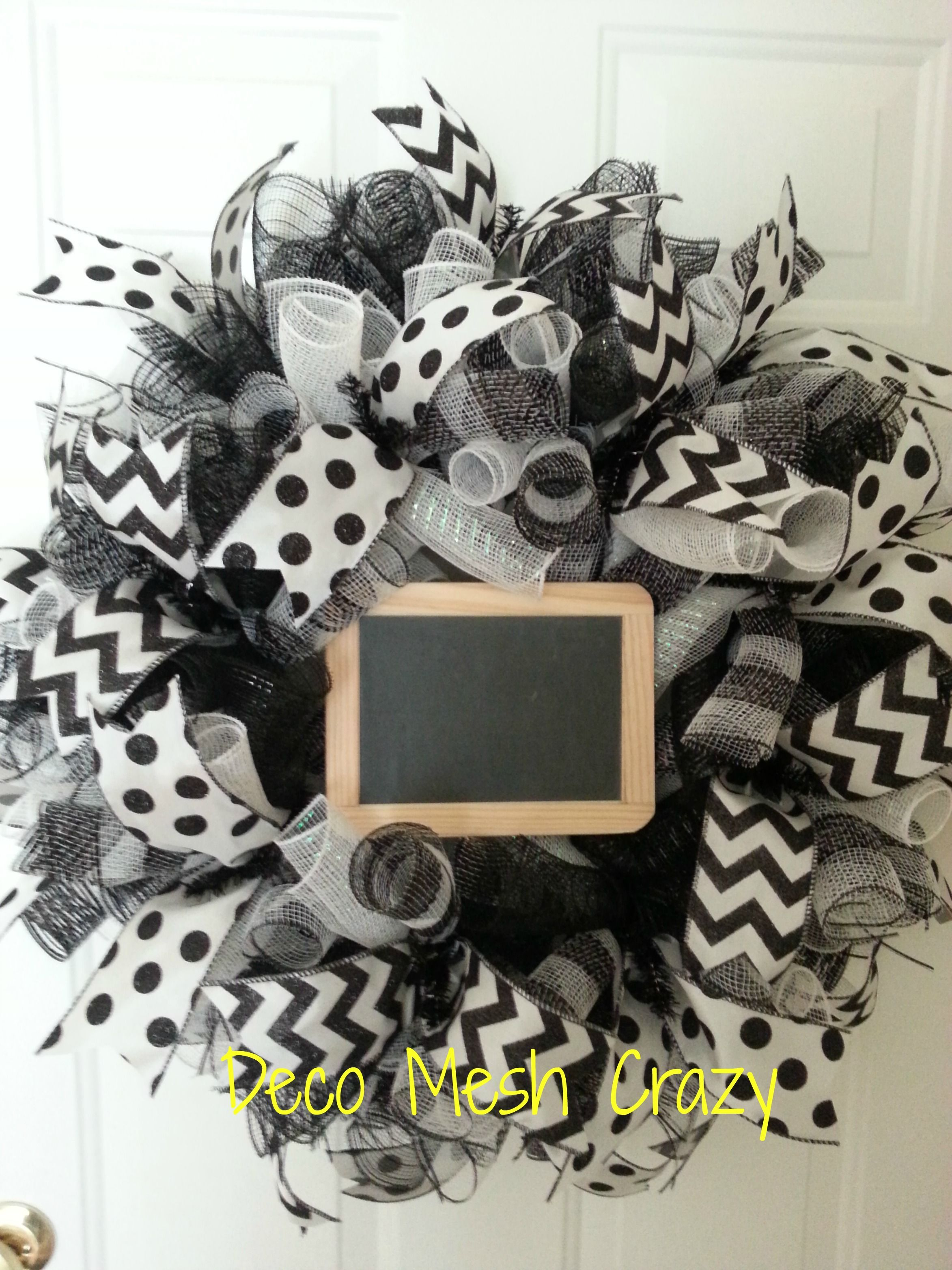 Black and White Deco Mesh Wreath with chalkboard, perfect ...