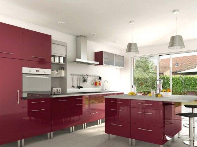 Cuisine rouge îlot   wwwm-habitatfr/par-pieces/cuisine - Photo Cuisine Rouge Et Grise